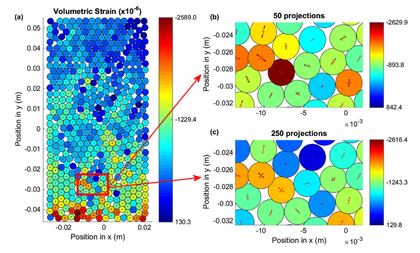 Bragg Edge Neutron Transmission Strain Tomography in Granular Systems